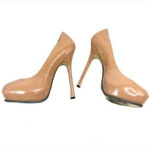 YSL Patent Leather Tribute Heel Stilettos Nude